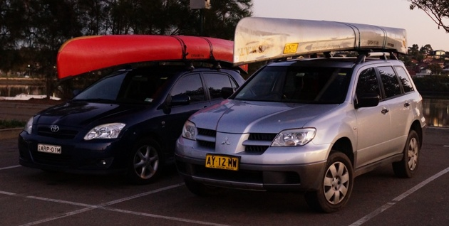 Wenonah canoes ready for early morning training
