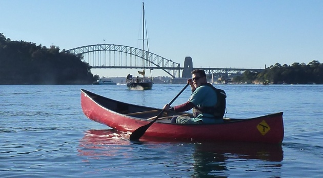 Sydney Harbour Bridge via canoes