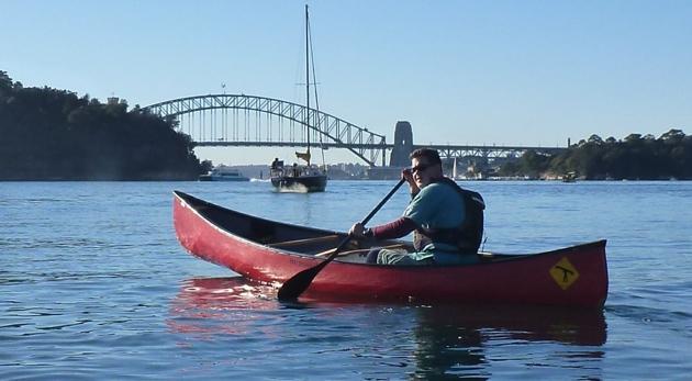 Sydney Harbour Bridge via canoes