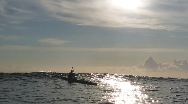 That amazing feeling when your stern lifts, the nose of your surfski drops and gravity takes over...
