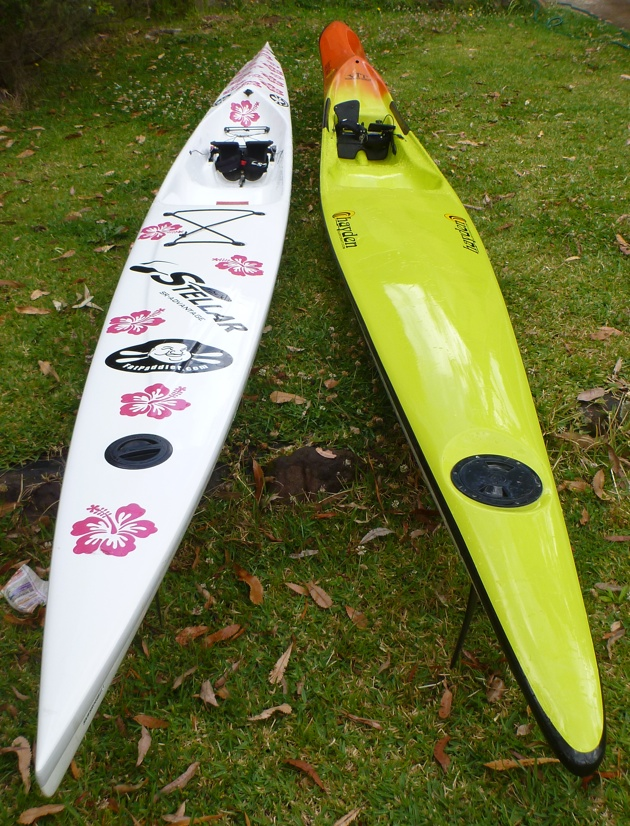 Stellar SR surfski vs the Hayden Fat Boy spec ski - top deck