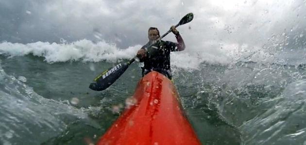 Rockin the Hayden Fat Boy in stormy wind chop and surf