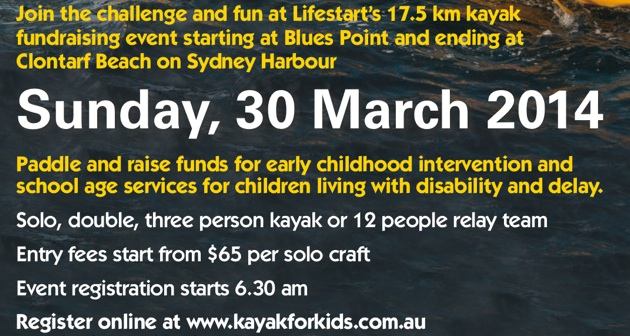 Register now for the 2014 Lifestart Kayak for Kids