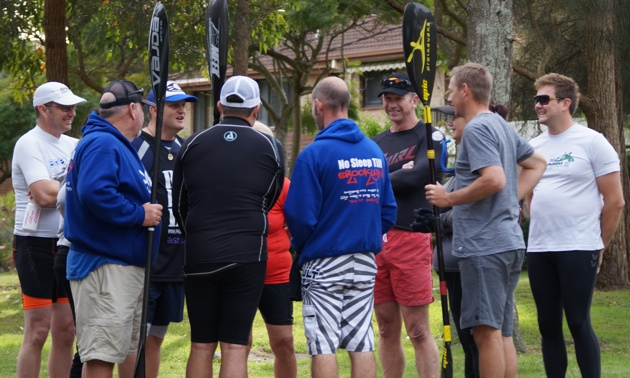 "Team Fat Paddler talk ""tactics"" prior to the event"