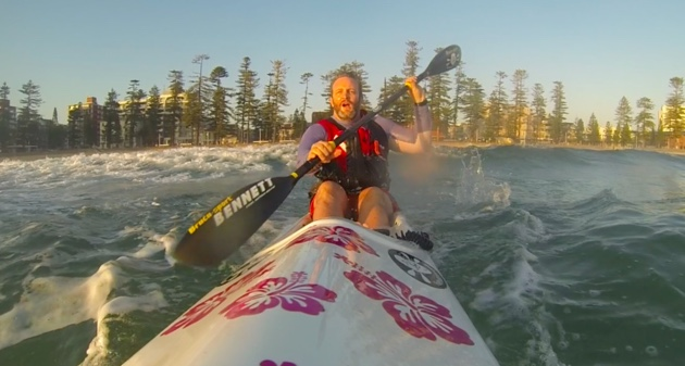 Practicing ins and outs through the surf - an excellent way to wake up in the morning