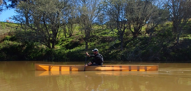 Travis paddling the very sporty Wenonah J203