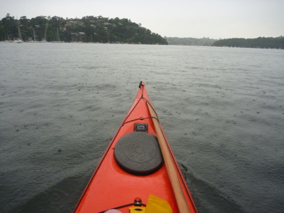 Paddling Sydney's Middle Harbour in the rain. Still beautiful!