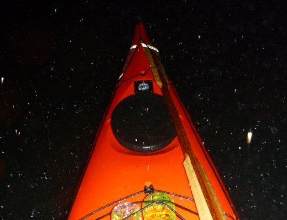 Driving rain pelting the kayak