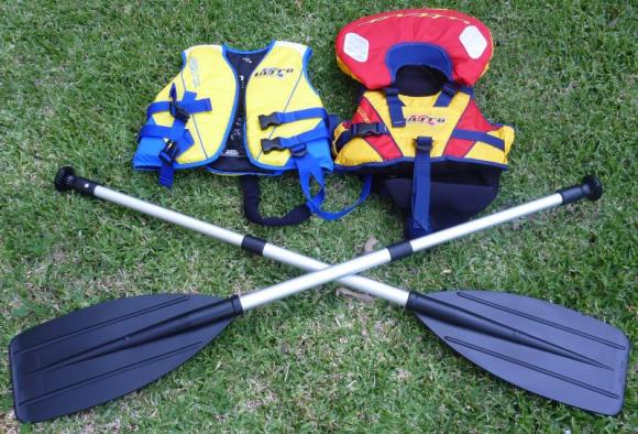Kiddie sized canoe paddles will let your kids join in with the paddling