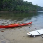 Two very different paddle craft sharing the water - Valley Aquanaut and SUP
