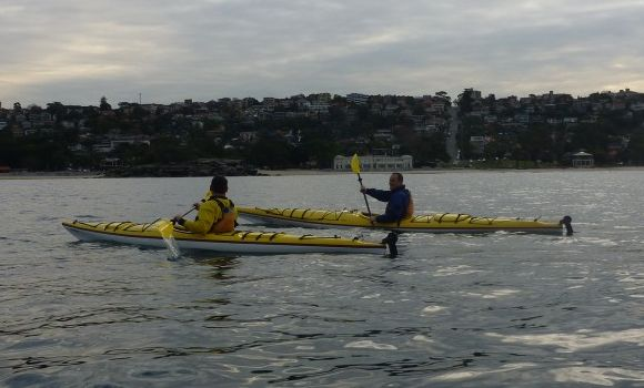 Enjoying the paddle past Balmoral beach
