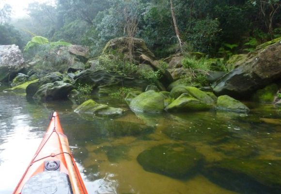 Moss-covered rocks mark the end of our paddle