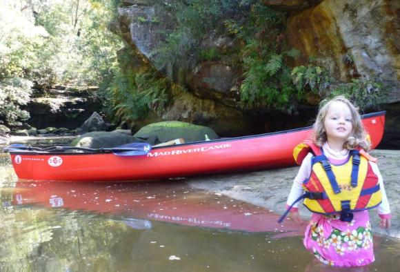 Ella (aged 2.5) and the family canoe