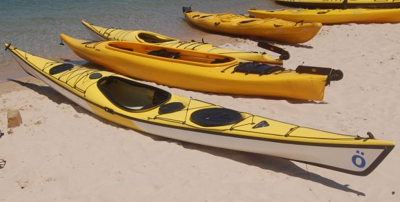 The Vaag down on the beach. Welcome to Sydney, little Canadian kayak!