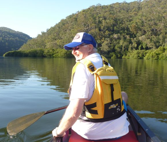 Keith enjoying the early morning peace on Berowra Waters