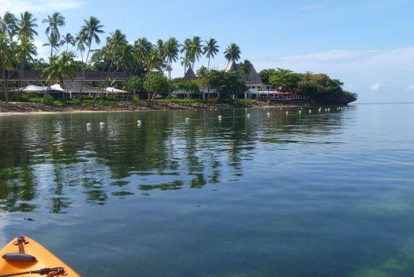 The Shangri-La Fijian Resort from the water
