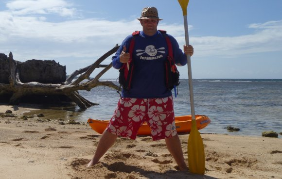 The FP, Loud and Proud, on a remote beach in the South Pacific