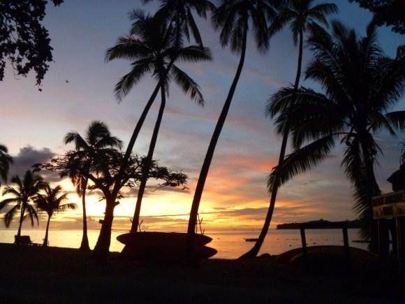 Stacked kayaks at sunset, Yanuca Island, Fiji