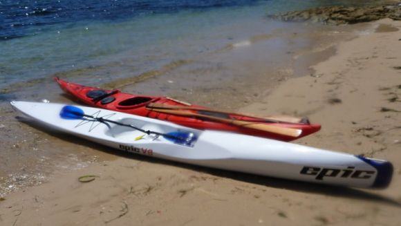 A bit of a break at Manly. Two very different paddle craft!