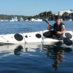 Andre in his new sea kayak design, the Hybrid 550