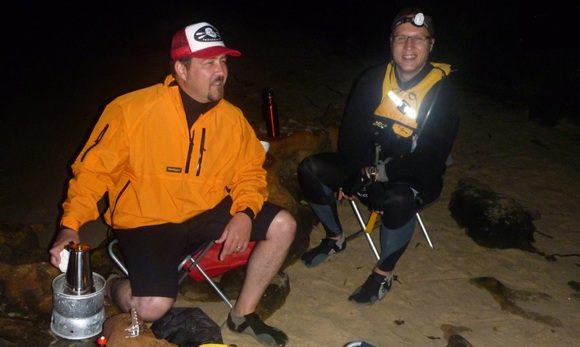 Mike and Alan go to work making fresh espresso under the stars