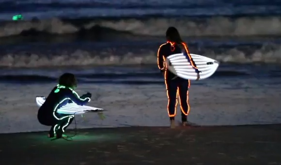 "Neon surfers at Australia's iconic Bondi Beach. Local's refer to them as ""shark bait""..."