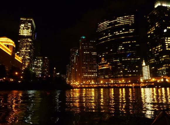At the Chicago River downtown junction, looking east towards Lake Michigan