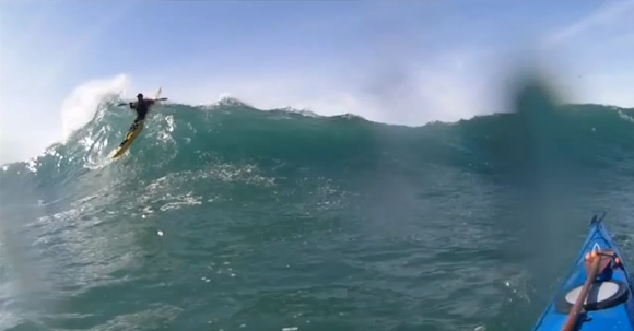 It takes a good sized set of Kahunas to ride the lips of waves like this!