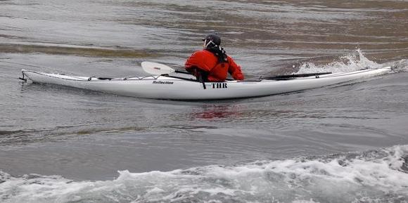 Surfing the wave, Skookumchuck Narrows, British Columbia.