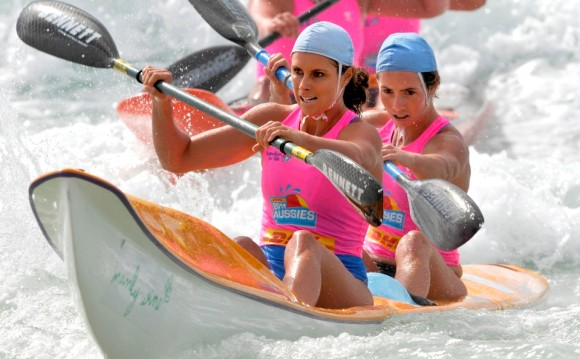Candice Falzon (front paddler) - ironwoman, surf life saver, paddling instructor