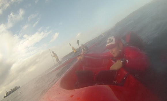 A slight lapse of concentration. Climbing back onboard just past Dobroyd Point.