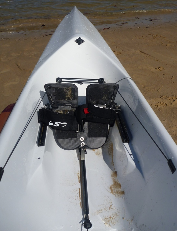 Looking towards the front of the cockpit. Note the three-point mount on the foot plate.