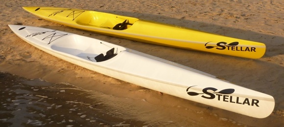 The Stellar SR ocean ski (front) and Stellar SEL (back) in yellow
