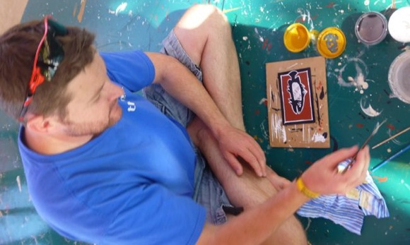Nat trying his hand at indigenous painting, Northern Territory Australia