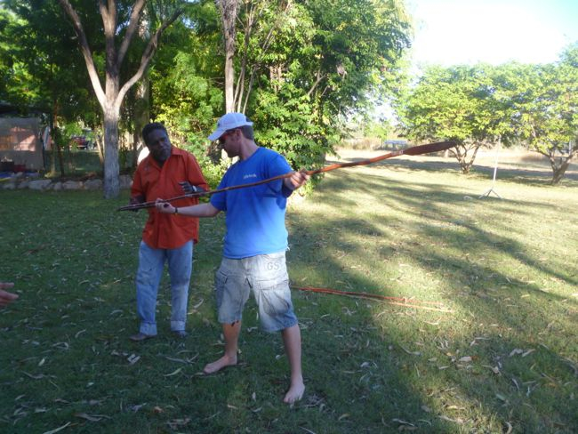 Nat tries his hand with a traditional spear - Northern Territory Australia