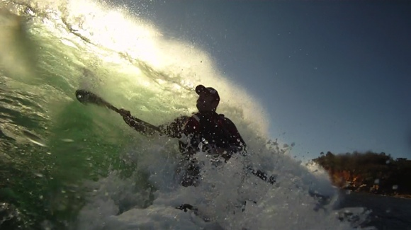 Looking into the Green Room at over 20km/hr! Fast, frothy, wet fun.