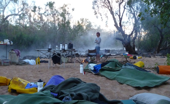 Early morning on day 2 - coffee and a cooked breakfast at camp