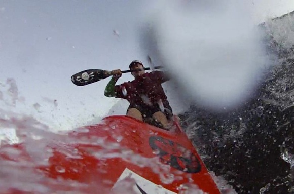 Taking the drop off a steep wave, the nose buried, water spraying me in the face... brilliant!