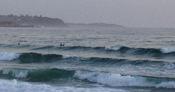 Looking north from the Manly Surf Club... a line-up of waves and headlands in the distance