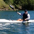 Team Fat Paddler member Mick Rees testing the Fenn Blue Fin