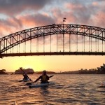Sydney Harbour dawn as Team Fat Paddler set-off for Manly